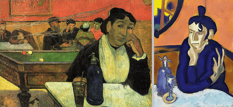At The Cafe By Paul Gauguin & The Absinthe Drinker By Pablo Picasso